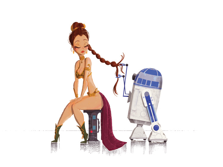 brain-food:  Star Wars: Princess Leia & R2D2by Sadie Figueroa