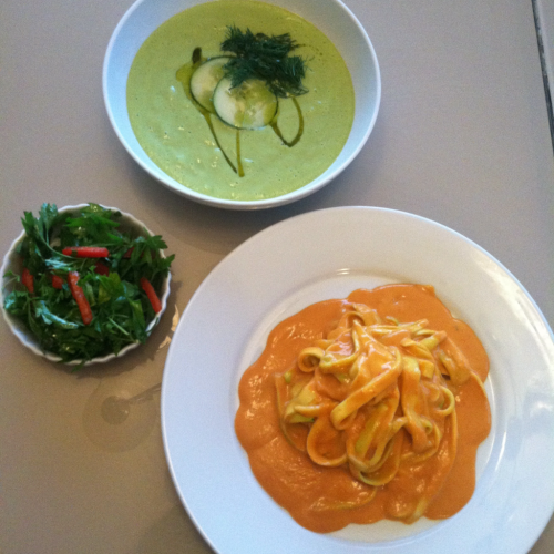 "Three course raw dinner I enjoyed tonight.  Parsley salad, cucumber dill soup and zucchini noodles in a red pepper ""cheese"" sauce. Love how light and good raw food makes me feel. This was so simple yet so satisfying to my palate and nutritional needs. Raw/Vegan/nut free."