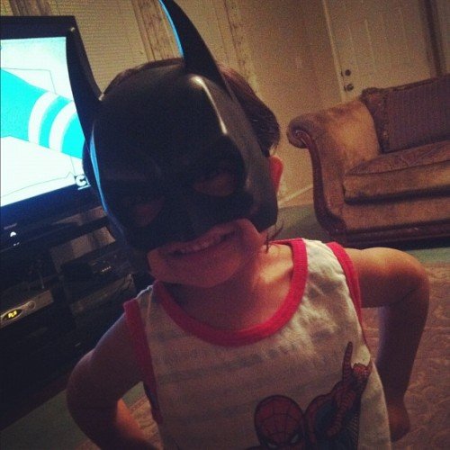 my mom bought my baby brother a batman mask last week and he's been wearing his mask everyday lol. ☺ #batman #mask #baby #cute #instagood (Taken with Instagram)