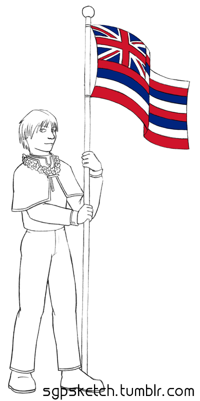 sgpsketch:  Holiday Week: Ka Hae Hawaiʻi Day (Hawai'ian Flag Day) Notes: I love Thya-ku, but I don't think I'm physically capable of drawing him such that all his pictures look like the same character… T_T