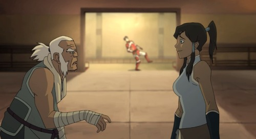 When Bolin first sees Korra, she stops him dead in his tracks