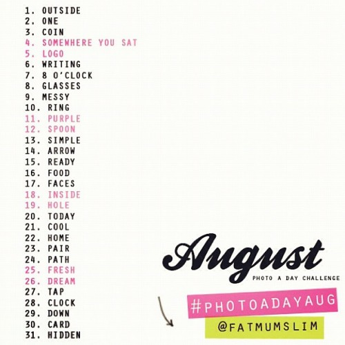 "Don't forget everyone! Tomorrow starts #photoadayaug hosted by @fatmumslim. And by tomorrow I mean August 1st for those who are still up at midnight like me who are thinking ""what? Tomorrow is July 31st, wtf is he talking about?"" (Taken with Instagram)"