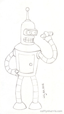 Day 5, Bender from Futurama (This is what my drawings look like right before I ink and color them)