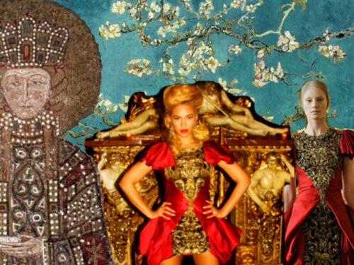 FASHION RETROSPECTIVE/// Before his death, McQueen has used medieval and byzantine costumes as a reference point for his Fall 2010 collection as seen on @Beyonce   credit:style.com, beyonce tumblr, layoutsparks.com, artres.com