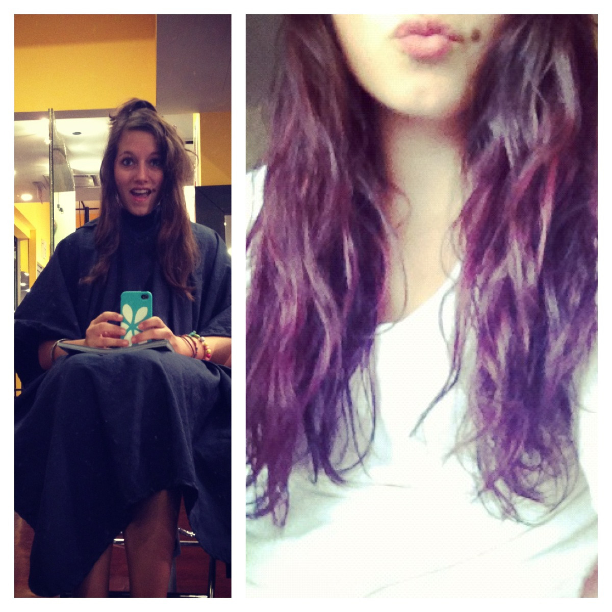 It's official…I finally jumped on the bandwagon and got me some ombre done! I was originally going to do a very vibrant purple dip dye, but since it was my first time every dying my hair, my stylist suggested doing the ombre because it will be a little bit more subtle. I like it a lot, in fact I love it! Purple and pink are my favorite colors, so you are able to see my hair start from brown to pink to purple, and I think it looks great with my natural shade of hair. The process was pretty long, but pretty worth it! I had been using a my favorite shampoo, BIG, but it contains sea salt which can strip the hair of its color, so instead I purchased Aveda's color protecting shampoo and conditioner, as well as the Moroccan Oil curl cream—it smells delish!  I HIGHLY recommend trying it! My stylist had told me that the beauty industry just came out with a ton of new colors, so next time I go, I am able to get colors like mint, or coral!