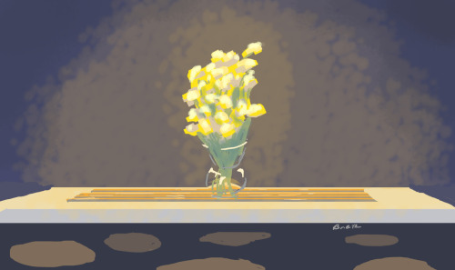 Heres a quick painting sketch of the joy I have for the flowers I bought. The lighting in the house spot lights their yellow glow perfectly!