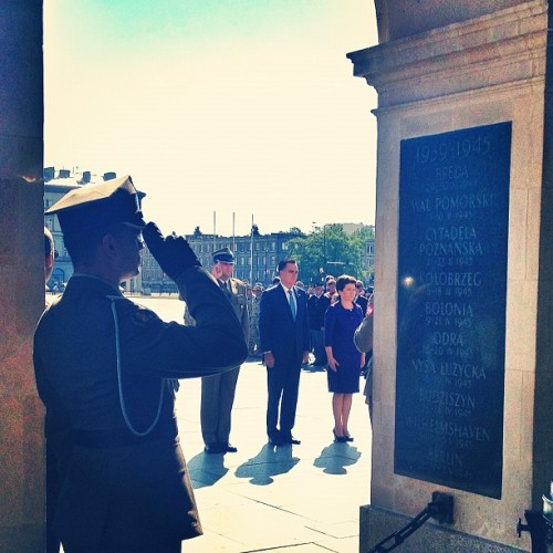 Mitt Romney at the Tomb of the Unknown Soldier (Warsaw Poland) (Taken with Instagram)