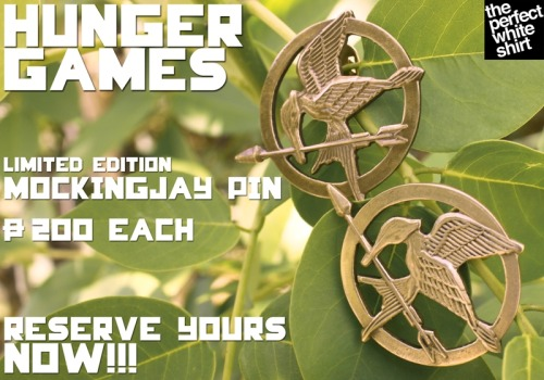 LIMITED EDITION #HUNGERGAMES #MOCKINGJAYPIN. P200 each.  FOR ORDERS AND INQUIRIES: Please call The Perfect White Shirt Office at: 02-7389443 (9am-6pm daily) Send us a text message at:0917-8868797 E-MAIL US. ONLINE CATALOG.  #30goodmovies #TPWSshirt #TPWSpins #TPWShoodie #peeta #katniss #theperfectwhiteshirt