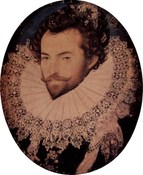 "fuckyeahhistorycrushes:  Hillard, Nicholas - Sir Walter Raleigh ""Sir Walter Raleigh (/ˈrɔːli/, /ˈræli/, or /ˈrɑːli/;[1]ca. 1554 – 29 October 1618) was an English aristocrat, writer, poet, soldier, courtier, spy, and explorer. He is also well known for popularising tobacco in England."" Wiki has a version of the image with better colour balance, but it's smaller."