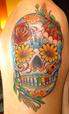 ohyeahbtrboys:  Kendall's Tattoo Sugar Skull - Because it's a symbol for Day of the dead which is the 2nd of November (his birthday) Sunflowers and wheat - Because he was born in Kansas 111 - Because it's his lucky number Webs - Because he loves Spiderman Guitar - Because he loves playing guitar   I L.O.V.E his new tattoo :D