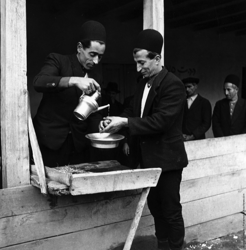 hand washing ceremony at a wedding in Mazandaran - circa 1950 by three lions