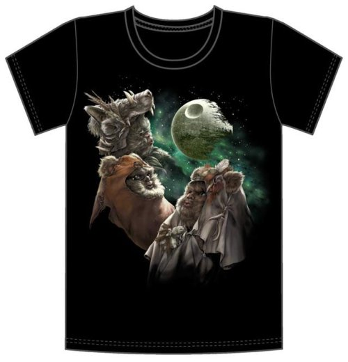 "Moon Over My Ewok Shirt:This new artwork shirt by Chris Trevas captures the colors of the Endor wind with a trio of Ewoks soulfully howling at the moon (wait, that's no moon!). Iconic or ironic, you're sure to get a howling response wearing ""Moon Over My Ewok."" Available in mens XS-2XL.http://shop.starwars.com/catalog/product.xml?topcatID=1300264%3Bproduct_id%3D1320810"