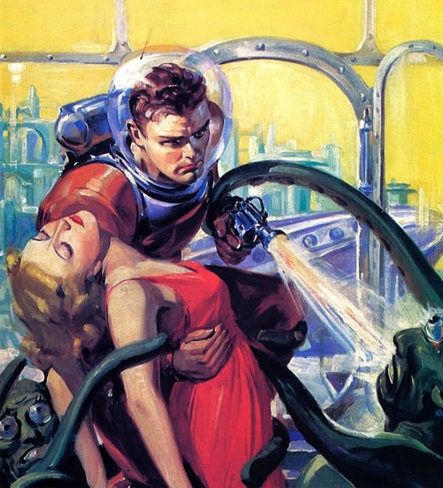 A space hero rescuing a damsel in distress illustrated by Robert Lesser for Future Fiction pulp magazine.