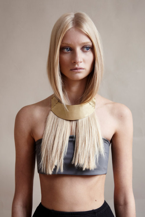 Brass sheet bib, style necklace, Designed by Jessie Harris