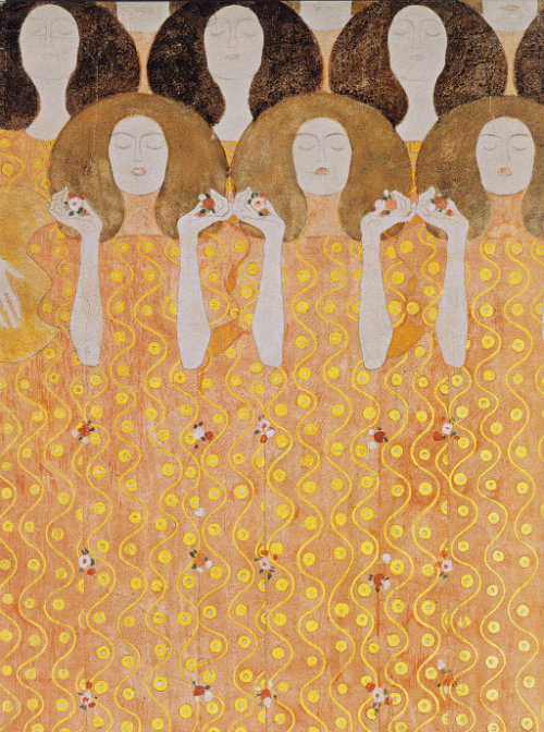 "artemisdreaming:  Choir of angels in paradise, The Beethoven Frieze Gustav Klimt .  ""Joy, thou gleaming spark divine. This kiss to the whole world!"""