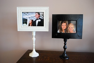 Get a picture frame, paint a candle stick (find wooden ones at the dollar store), and glue them together to make these!