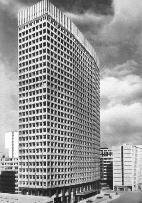 procrete:  Portland House, Victoria, London (circa 1963). The largest building in the Stag Place development, it has an in-situ reinforced concrete frame, clad in precast concrete panels faced with exposed Cornish granite aggregate.