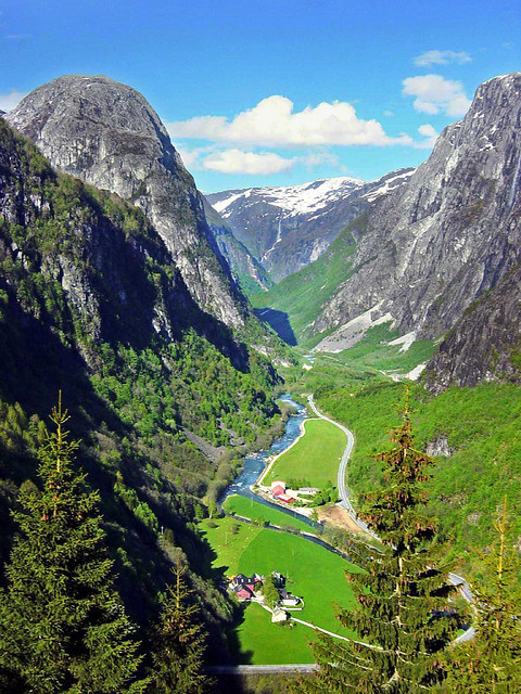 visitheworld:  The Gudvangen Valley at the edge of one of the arms of Sognefjord, Norway (by acheron0).