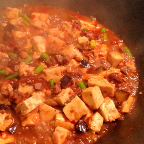 My peasant style Ma Po Tofu features shitake, wood ear fungus, eggplant, garlic shoots, Greenvale Farm pigs tongue, pork fat and a small amount of fermented chilli bean curd for a richer flavour. The secret ingredient is my dark, intense, homemade masterstock. This dish is internal central heating, perfect for winter.