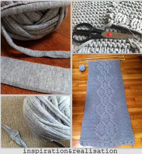 DIY Giant Rug Made From Giant Knitting Needles and Tee Shirt Yarn from inspiration & realisation here. Remember when I posted Donatella's tutorial here for making gigantic size 50 knitting needles from wooden dowels? This post is about the tips and tricks she learned from knitting with these huge needles. I cannnot wait to try this! *For how to make tee shirt yarn go to this post here.