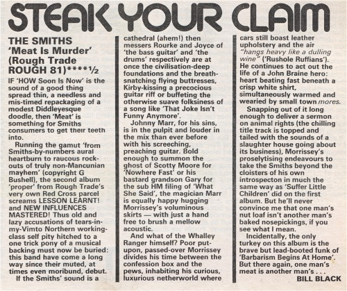 "Review of ""Meat is murder"", by Bill Black for Sounds, 16 February 1985."