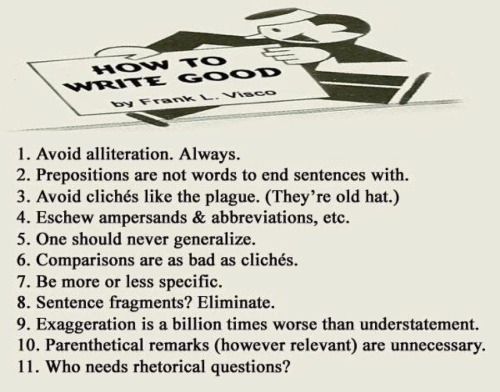 world-shaker:  Rules to Write Good