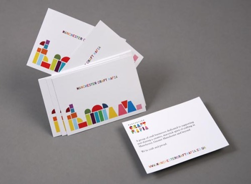 Colorful Branding Cut and paste identity with screenprinted invitations, flyers, posters and a content managed website for the Manchester Craft Mafia designed by Because Studio, an independent design studio established by Loz Ives in 2008. via: WE AND THE COLORFacebook // Twitter // Google+ // Pinterest