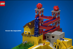 M.C. Escher's Waterfall recreated  in Lego form.