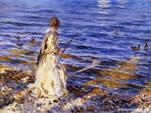 "John Singer Sargent - ""Girl Fishing"""