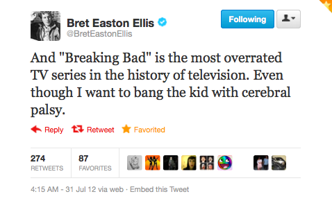 Bret Easton Ellis Hates 'Breaking Bad' But Wants To Bang Walter Jr.