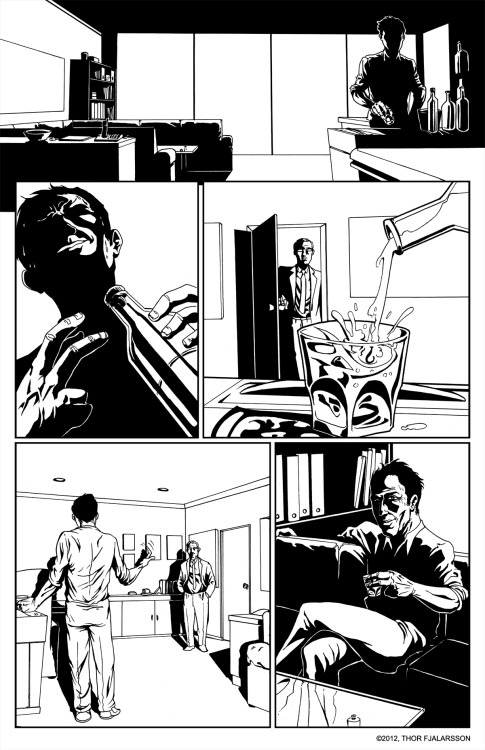 Page one inks for a short comic called 'Consume', which I've written and drawn for Product Of Society #6 by Cheeselord Comics. Coming out later this year. Check out Cheeselord Comics
