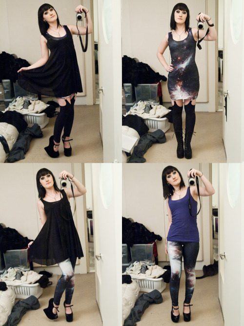 My new Black Mill pretties arrived! Sheer babydoll, Black Galaxy legs and Reverse suspender legs <3 Reverse suspenders will prolly look better with my dirty purples skirt..