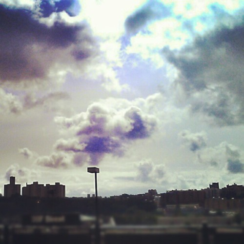 Morning Clouds #instagramuptown #uptown #newyorkcity #inwood #washingtonheights #newyork #city #clouds #sky #train #mta (Taken with Instagram)