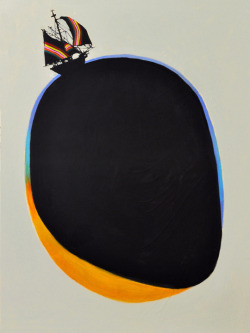 "darksilenceinsuburbia:  Joshua Petker. Adrift. Untitled, 2012. Acrylic and ink on canvas, 36 x 48"".  True story! :')"