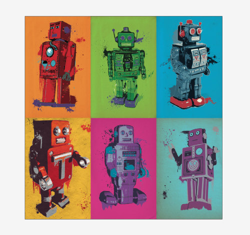 These robot posters are on Sale! $10.00 for one, or $35 for all 6!  At Etsy, of course.