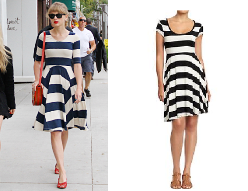 Look for Less: Taylor Swift's Ipanema Striped Dress If you loved Taylor's Ipanema navy and white striped dress (retailed for $169, now sold out), check out Old Navy's black-and-white version (it also comes in green/navy) for only $22.44 (with code ONEXTRA10).