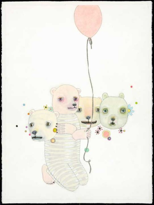 "Bear prints in my Etsy shop > ""Juggling"". www.JenniferDavisArt.com"