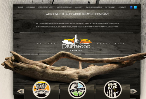 Creative Beer Websites 24-Pack Series: 1/24:  Driftwood Brewery from British Columbia. Design by Hired Guns Creative