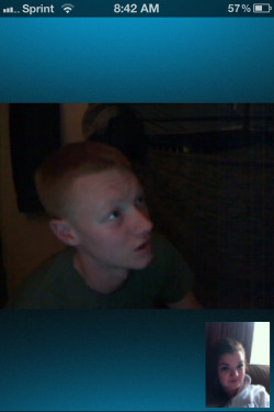I snuck this on our first Skype date. We talked like we always do at first then it came to the time where he had to get off the computer. I was strong n held in my tears till we hung up. But after all I could do was cry. I just wish he was here. :( I'm learning everyday that this is gonna be a battle but honestly I just want to fast forward n have him home. :( I hate deployment and I have 6months left. :( am I the only one who breaks down after Skype dates?