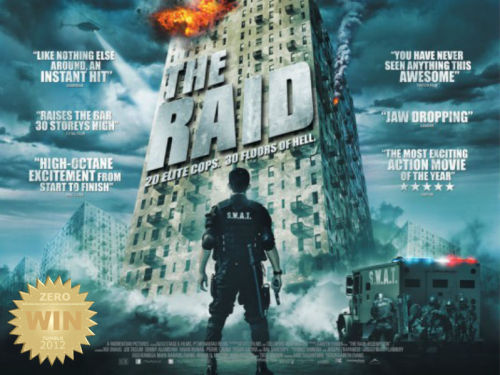 "The Raid: Redemption (2011) aka Serbuan maut  A SWAT team becomes trapped in a tenement run by a ruthless mobster and his army of killers and thugs. Violent beauty! Action that cuts like a razor blade!  Gareth Evans went on a journey to document Indonesian martial arts… which gave birth to two amazing action flicks. The Raid is tough as nails. In the heart of Jakarta lies a building that has become a haven for the crooked. Feared by all, even by the police. A ragtag SWAT team is sent in to capture the big boss and cleanse the infamous tower. TRIVIA: The original title ""Serbuan Maut"" means Deadly Invasion in English.  Lead actor Iko Uwais teams up once again with write/director Evans, after their success with Merantau (2009), to bring us this spectacle of violence. An action packed bag of guns, knives and fists. I would like to give special mention to the performance of Yayan Ruhian aka MAD DOG. That motherfucker was BRUTAL!!! Hands down. The fighting was a beautiful manly ballet. A relentless assault on the senses and gives us a thrill most ""Hollywood action films"" cannot deliver. The tension of survival and mysterious characters are just some of the things that give this film that added ""umph!"".  The story was simple and went straight to the biscuits. It's an action movie that delivers the goods. There were some (expected) twists along the way, which didn't harm the film. The cinematography and lighting was great. WOAH! I loved it every time they shot a guy in the face. Point fucking blank. I could go on and on about the fighting and awesomeness of this manly man film, there was just so much… maybe even ""too much"".  Was there anything bad about it? Well… everyone knows how to fight! I snickered every time some random guy would bust out some pretty awesome moves. Unbelievable but good nevertheless.  Action fans: The Raid is a must-see."