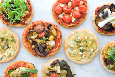 clubmonaco:   Mini Vegetarian Pizzas  Besides looking delectable, these mini pizzas pack a punch of pattern.