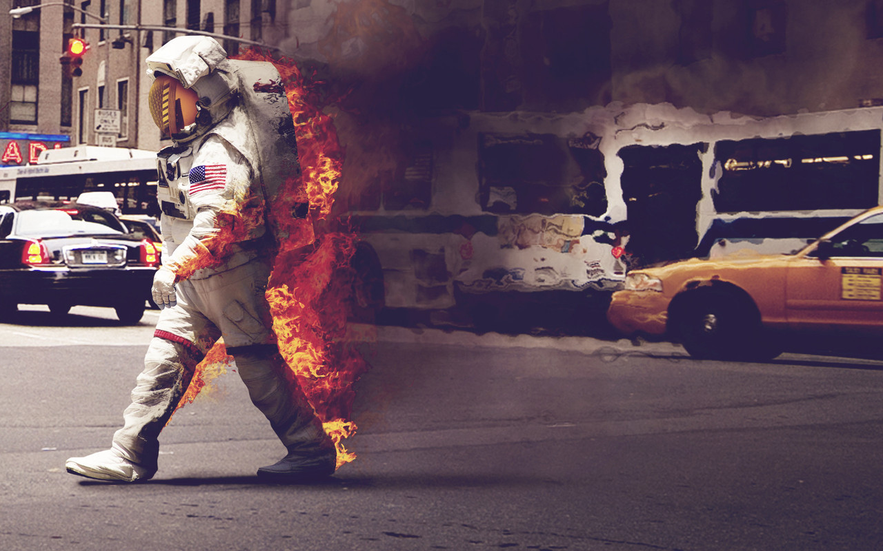 This is an Astronaut on Fire  Everything is better on fire. Everything is better with an astronaut. Astronaut on fire? That's like a kitten wrapped in bacon.