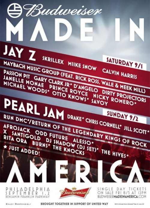 "binnielove:  RUN DMC & Drake Are Added To The Budweiser ""Made In America"" Line Up"