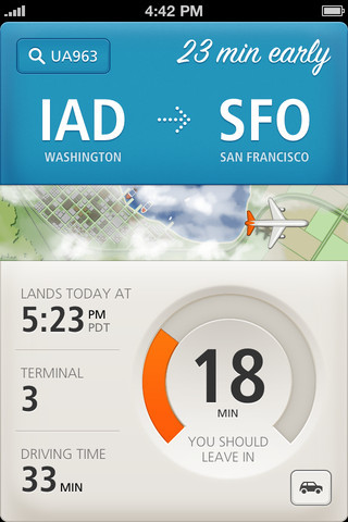Beautiful app for air travel. lovelyui:  timer on Just Landed