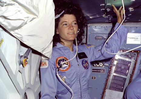 "Hendrik Hertzberg on where Sally Ride rode, and where she didn't: http://nyr.kr/MZjEF8  What Dr. Ride did not do, though, was what I, for one, had hoped she would do: rocket into political orbit, as John Glenn (D-Ohio) and Harrison Schmitt (R-New Mexico) did so successfully. The reason she didn't, I suspect, was also the reason she was not only ""reserved and reticent"" but was also—the Times obit again—""known for guarding her privacy"" and was described by a friend (who said, ""I had to interrogate her to find out what was happening in her personal life"") as ""elusive and enigmatic, protective of her emotions.""  (Photograph: NASA)"