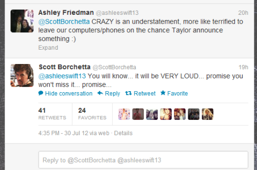 whodatswiftie:  Scott says Taylor's announcement will be VERY LOUD and we won't miss it.