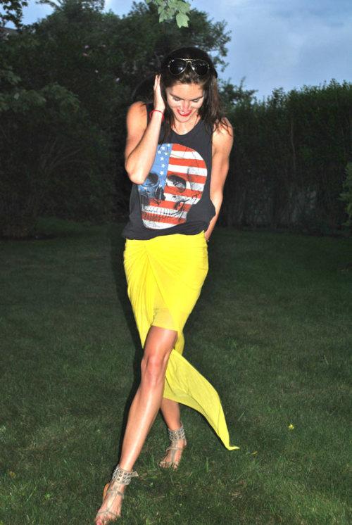 SPOTLIGHT. Hilary Rhoda in the Hamptons wearing the SS12 Viscose Film Burst Skirt.