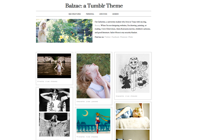 "Just submitted my first Tumblr theme! Edit UGH. On the theme, I just realized that I forgot to replace my header image with the one of outer space. So now my face will be on every new install. >_< I'm sorry guys! If you want to replace the header image, 460px wide is the ideal size. You can crop and resize your images here for free. Edit 2 I also just realized that I left my personal Tumblr link in the code, which you can delete by going to ""Edit HTML"" and searching for ""My Tumblr"", and then deleting the text between that <li></li> tag. Sorry about this; I've just submitted these edits to Tumblr, so hopefully they will show up on the new installs now."