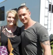 A too small photo of Tom Hardy from the set of Lawless, from a woman who worked on the film. Here, you can really see his Bane body!