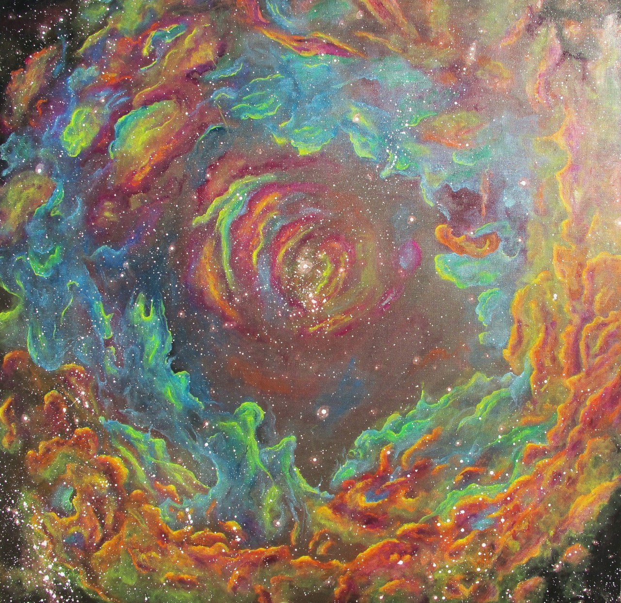 isis-oh-isis:  Oil Spill Nebula- 24 x 24- Acrylic on canvas